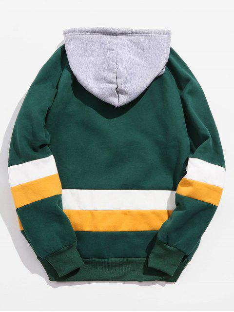 hot Contrast Embroidered Letter Fleece Hoodie - GREENISH BLUE XS Mobile