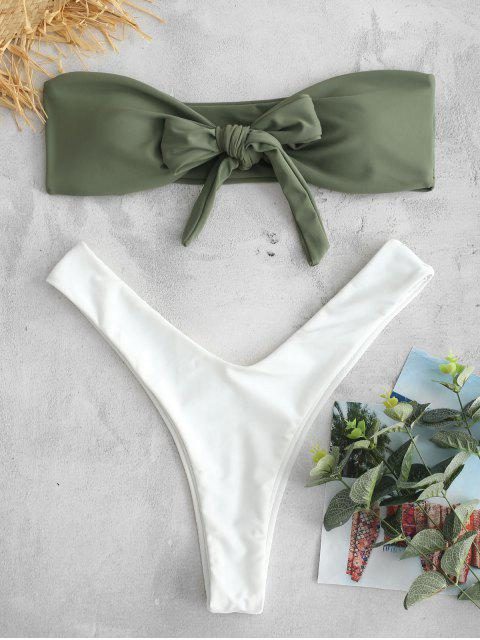 fancy ZAFUL Knotted Color Block Bandeau Bikini Set - CAMOUFLAGE GREEN L Mobile