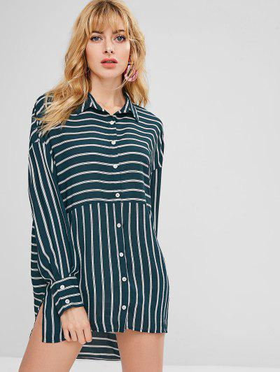 c6e0e73cfb ZAFUL Asymmetric Striped Slit Shirt Dress - Dark Green M