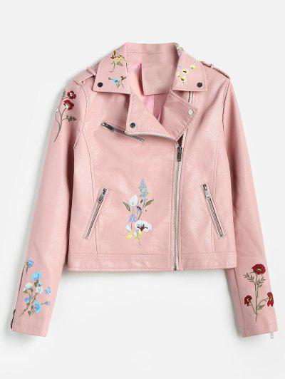 85a541b76238 Floral Embroidered Faux Leather Biker Jacket - Pink Xl