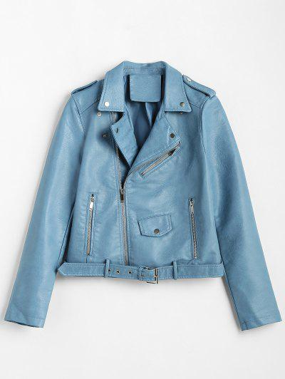 3e85708936 Zip Up Pockets Belted Faux Leather Jacket - Blue Ivy Xl