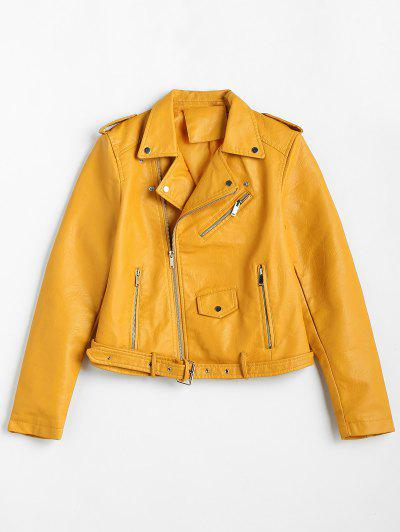 Zip Up Pockets Belted Faux Leather Jacket - Yellow Xl