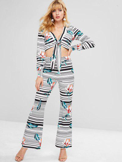 ZAFUL Striped Plunge Top And Flare Pants Set - Multi M