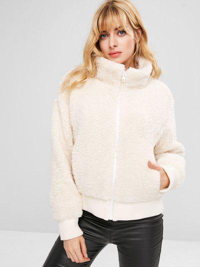 ZAFUL Zip Up Fluffy Faux Shearling Winter Coat - White M