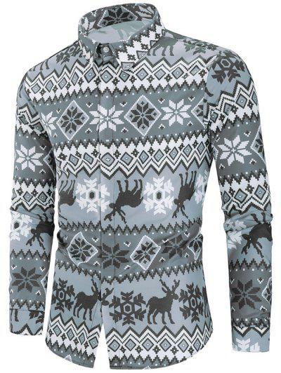 Christmas Deer Print Hidden Button Shirt - Multi M