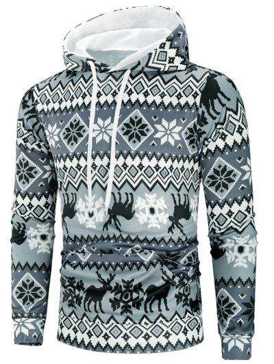 Christmas Deer Print Long Sleeve Hoodie - Multi M