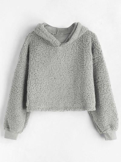 Drop Shoulder Fluffy Boxy Hoodie - Light Gray M
