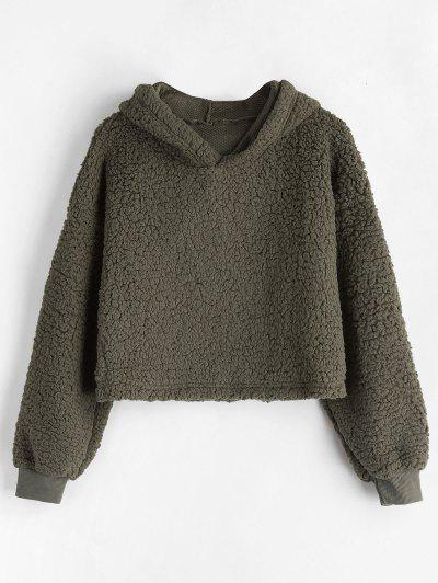 Drop Shoulder Fluffy Boxy Hoodie - Army Green S