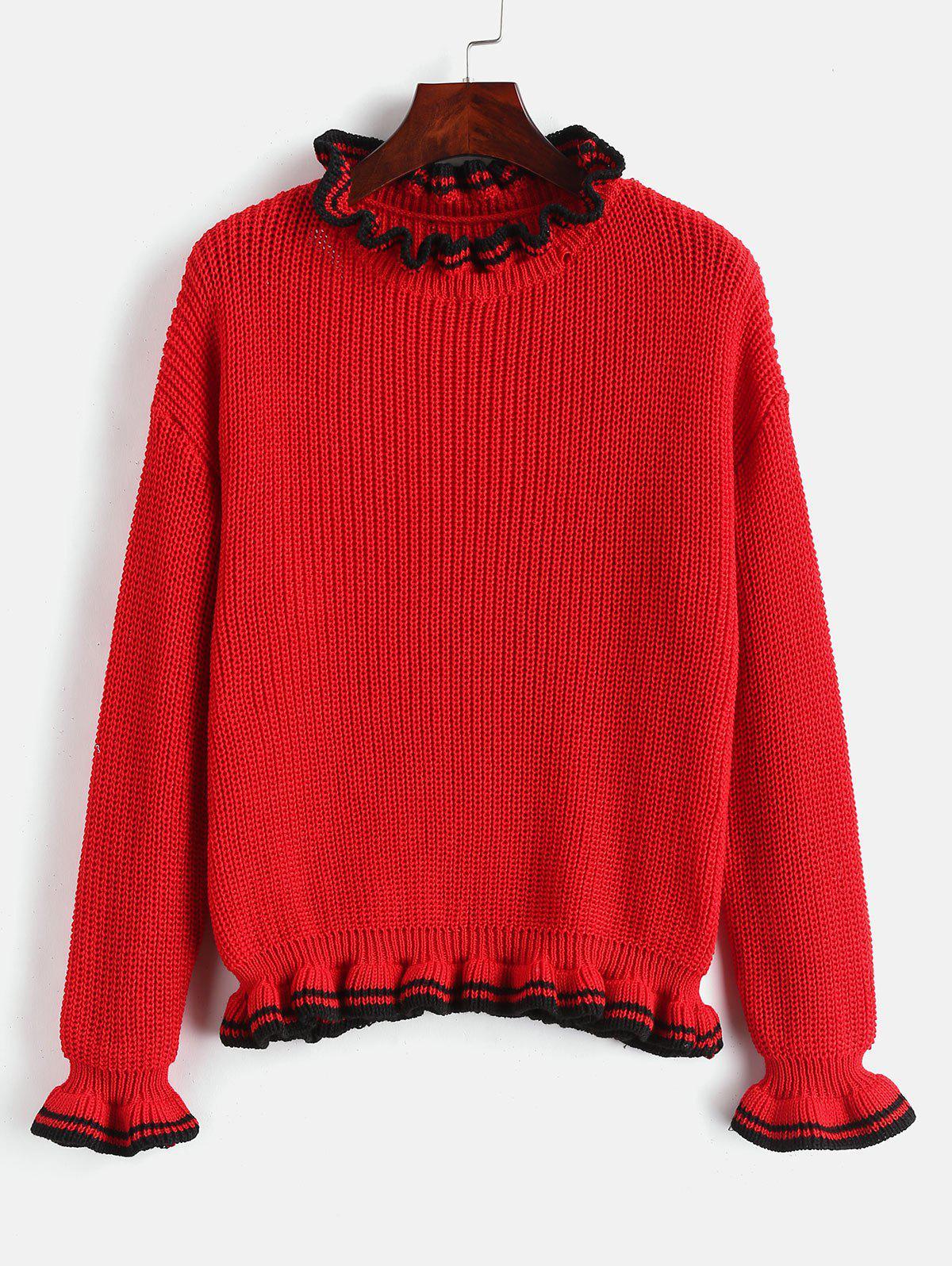 Stripes Panel Ruffles Sweater thumbnail