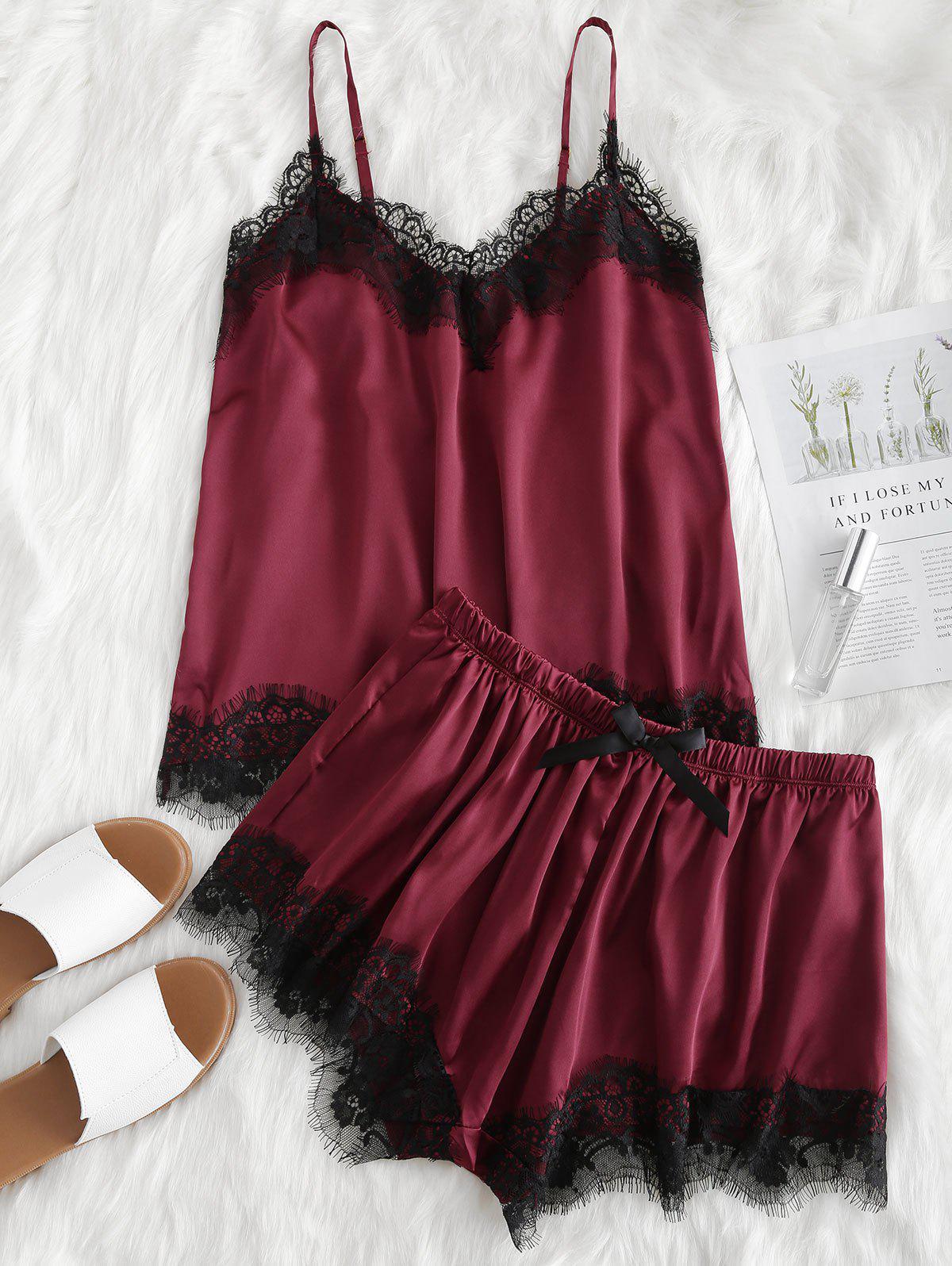 Contrast Lace Cami Satin Top and Shorts Pajama Set