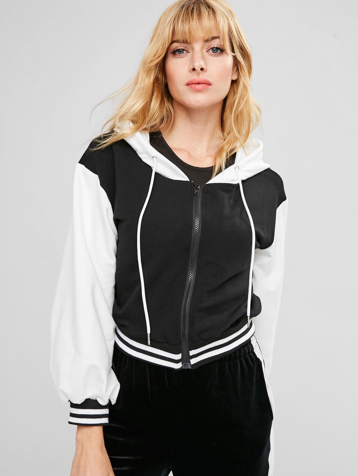 ZAFUL Zip Front Striped Contrast Hoodie