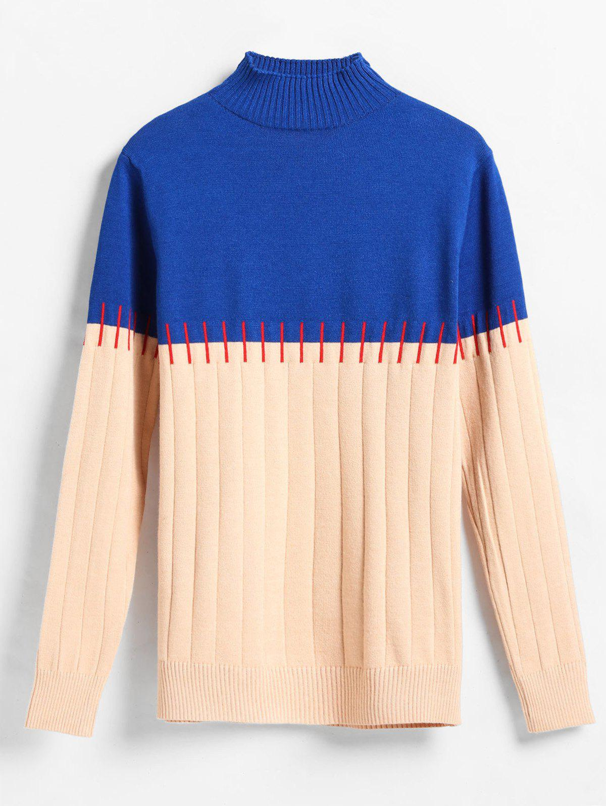 Wide Ribbed Color Block Sweater