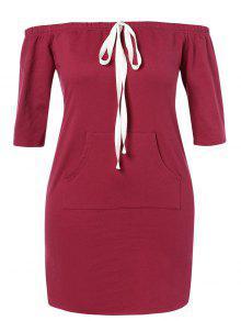 ZAFUL زائد الحجم معطلة الكتف اللباس الجيب - نبيذ احمر 1x