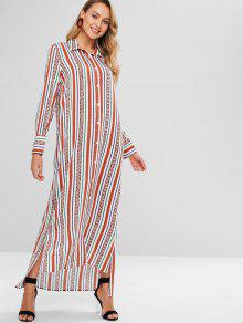 فستان بنمط قميص مخطط - متعدد L