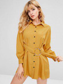 ZAFUL المتضخم ميني زر حتى اللباس القميص - نحلة صفراء L