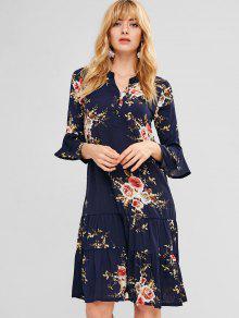 الكشكشة الأزهار طويلة الأكمام اللباس - منتصف الليل الأزرق M