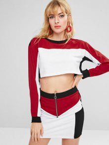 ce5bc9b26141 26% OFF] 2019 ZAFUL Contrast Crop Top And Skirt Set In WHITE | ZAFUL