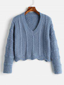 Cozy Fluff Yarn Cable Knit Sweater - بلو كوي