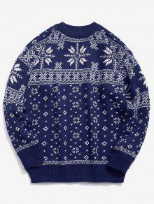 عيد الميلاد ندفة الثلج نمط البلوز كنزة - ازرق غامق Xl
