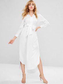 كم طويل مربوط فستان ماكسي - أبيض S