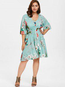 35% OFF] 2019 Floral Shirred Waist Plus Size Dress In LIGHT CYAN | ZAFUL