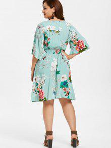 a380549a968 25% OFF  2019 Floral Shirred Waist Plus Size Dress In LIGHT CYAN ...
