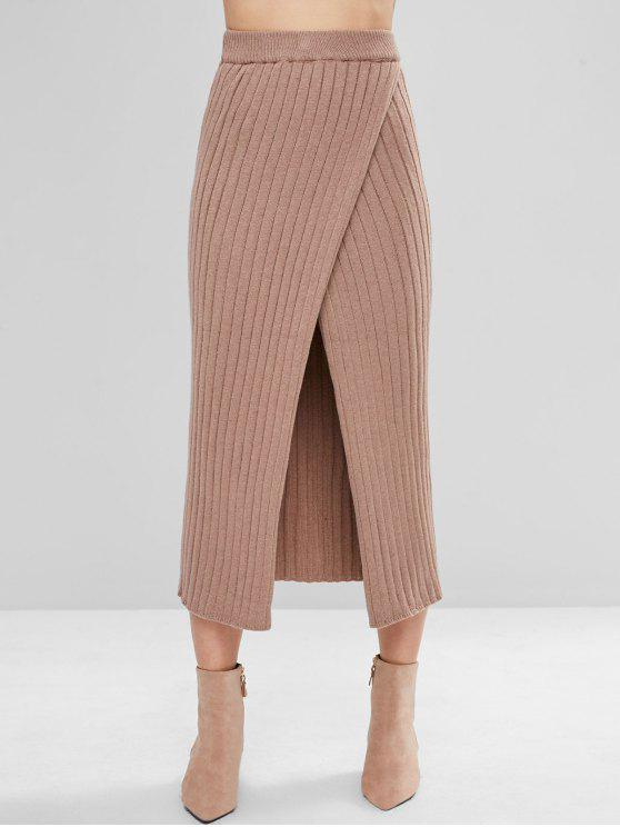 4a0591546 25% OFF] 2019 Overlap Knit Maxi Skirt In CAMEL BROWN   ZAFUL