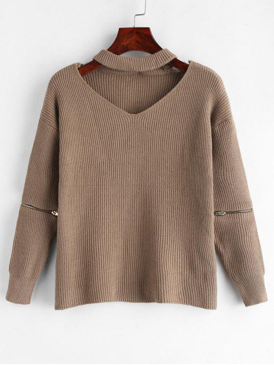 outfits Choker Drop Shoulder Zip Embellished Sweater - OAK BROWN ONE SIZE