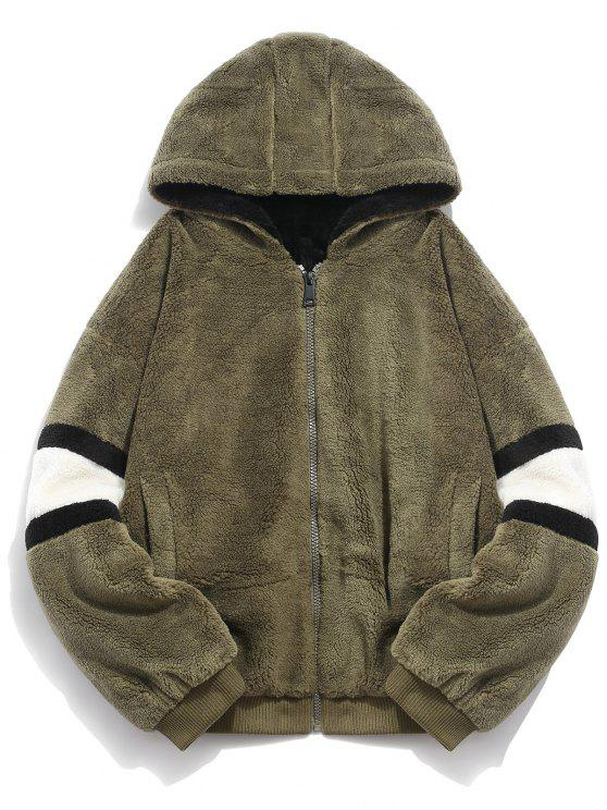 outfit Faux Fur Panel Hooded Coat - ARMY GREEN M