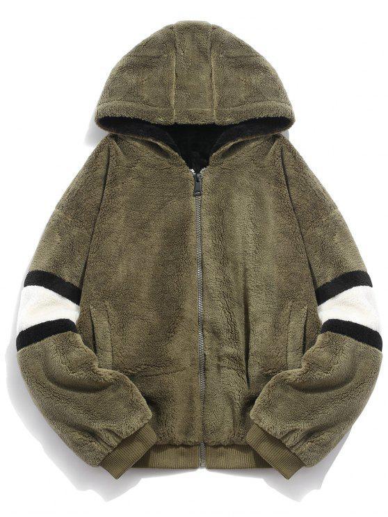 Abrigo con capucha de piel sintética - Ejercito Verde M
