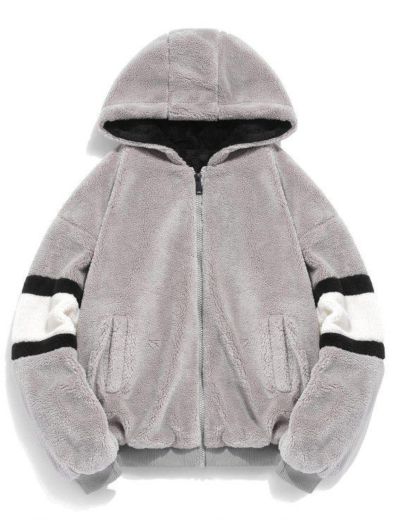 Abrigo con capucha de piel sintética - Gris Oscuro XL