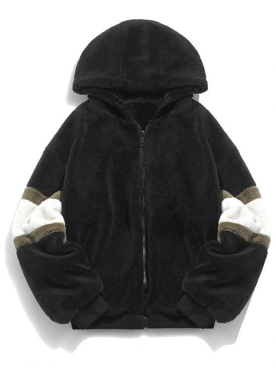 affordable Faux Fur Panel Hooded Coat - BLACK L