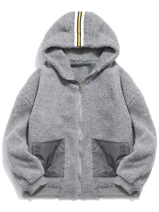 buy Faux Fur Hooded Zip Up Coat - GRAY M