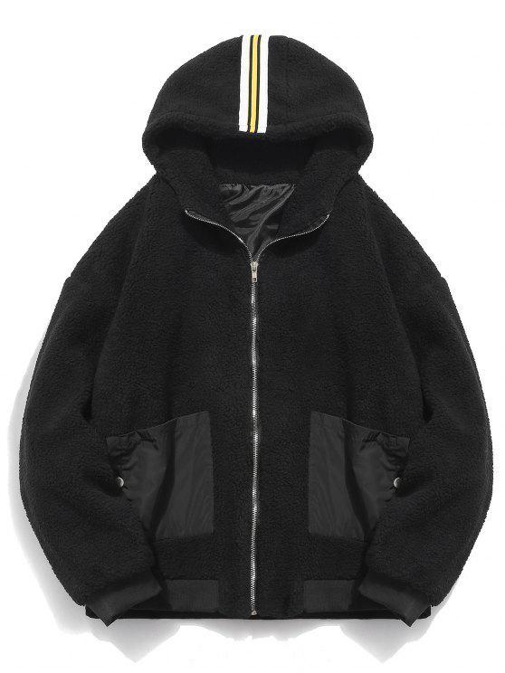 best Faux Fur Hooded Zip Up Coat - BLACK L