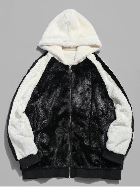 shops Hooded Faux Fur Color Block Coat - BLACK 2XL