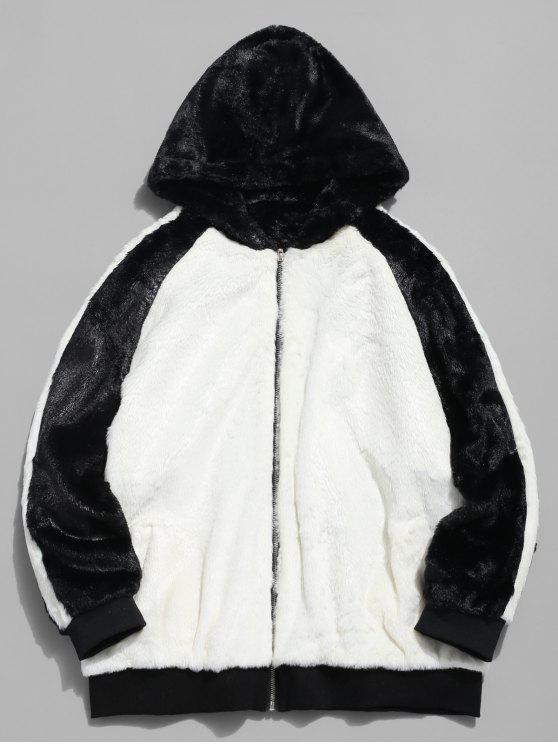 Abrigo de bloque de color de piel sintética con capucha - Blanco L