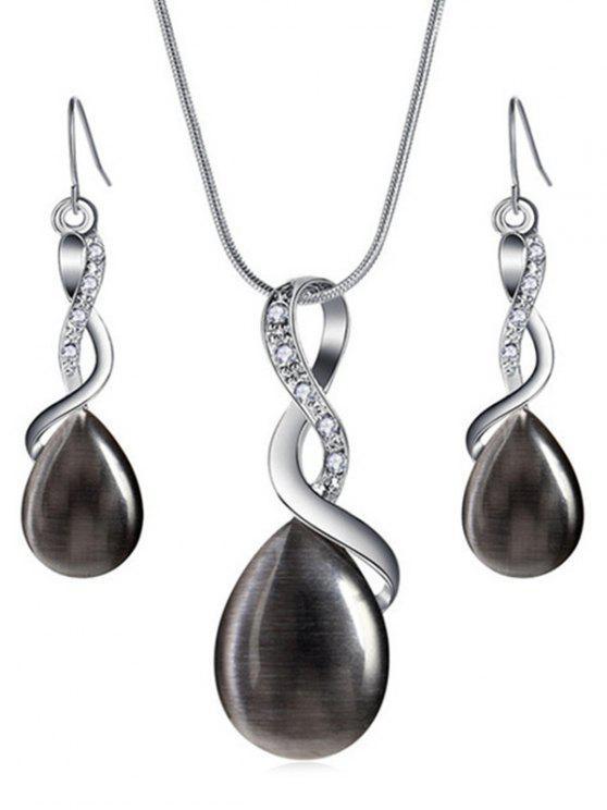 shop Sparkly Rhinestone Inlaid Water Drop Jewelry Set - BLACK