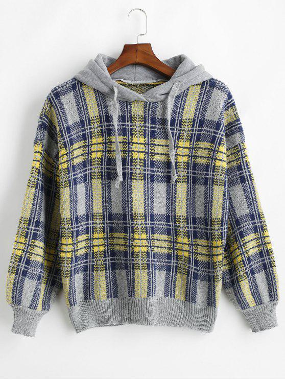 fancy Jacquard Checked Hooded Sweater - YELLOW ONE SIZE