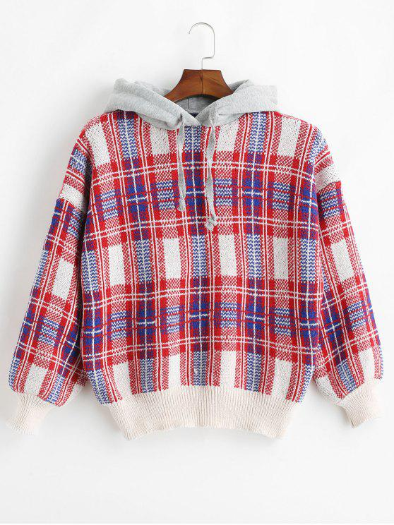 shops Jacquard Checked Hooded Sweater - RED ONE SIZE