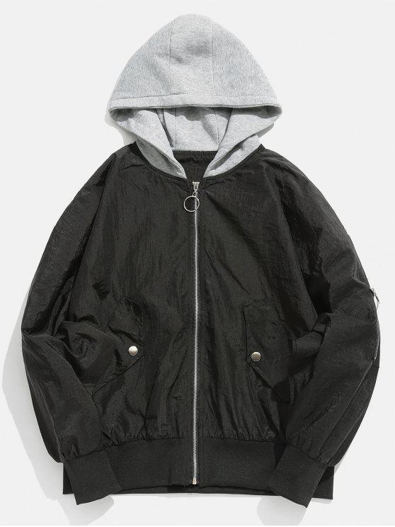 hot Color Spliced Vintage Hooded Jacket - BLACK 2XL