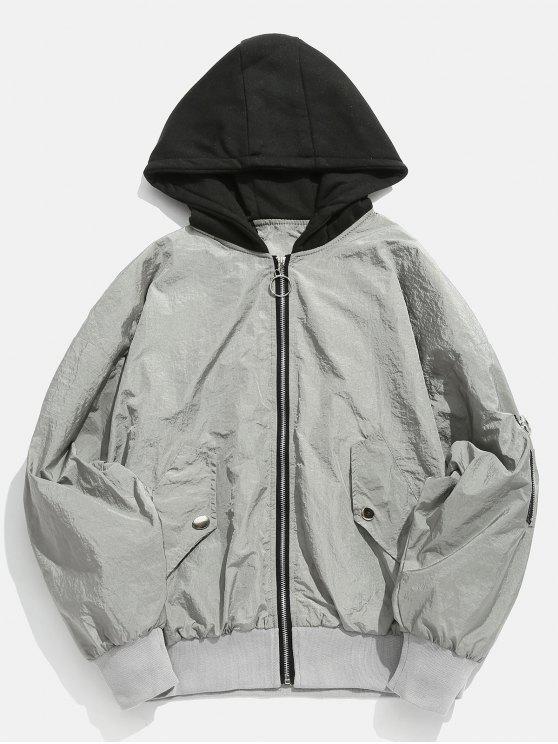 unique Color Spliced Vintage Hooded Jacket - GRAY GOOSE 2XL