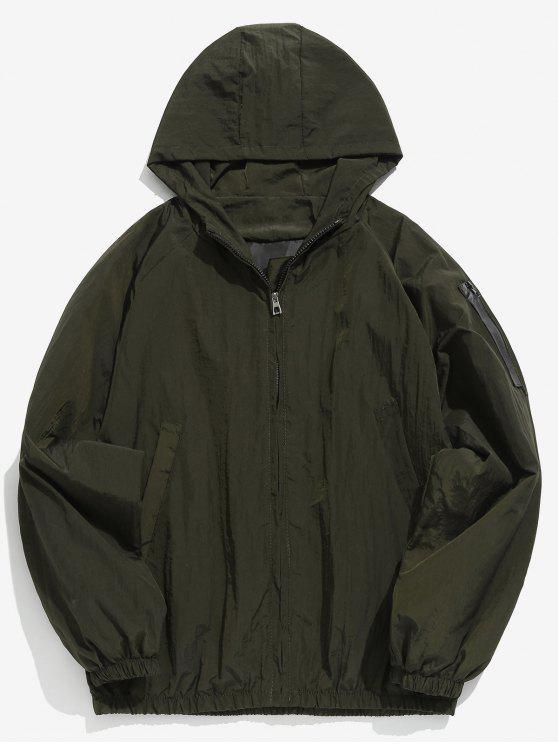 buy Sleeve Pocket Design Hooded Jacket - ARMY GREEN XL