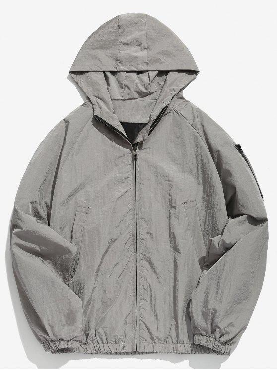 women Sleeve Pocket Design Hooded Jacket - GRAY CLOUD 2XL