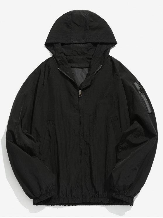 Chaqueta con capucha y diseño de bolsillo - Negro M