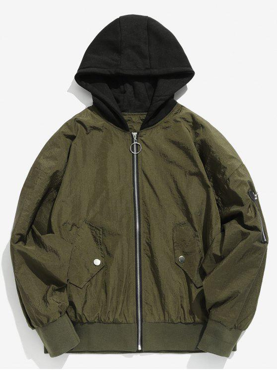 chic Color Spliced Vintage Hooded Jacket - ARMY GREEN XL