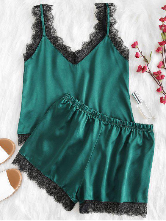 online Scalloped Cami Top and Shorts Pajama Set - MEDIUM SEA GREEN L