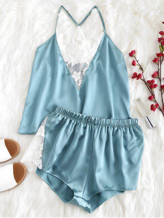 women's Satin Embroidered Mesh Cami Pajama Set - CYAN OPAQUE L