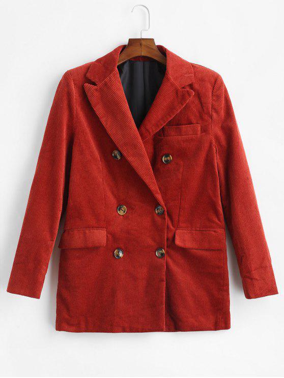 fashion Double Breasted Corduroy Blazer - MAHOGANY S