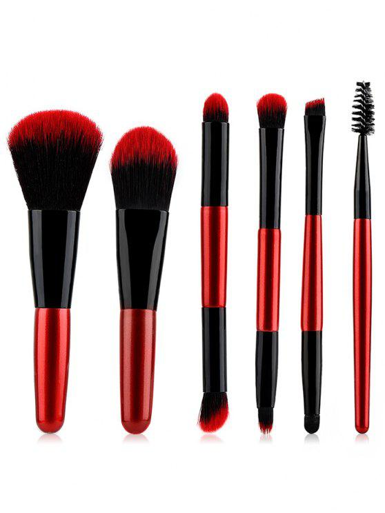 affordable Cosmetic 6Pcs Double Ended Ultra Soft Travel Makeup Brush Suit - RED REGULAR