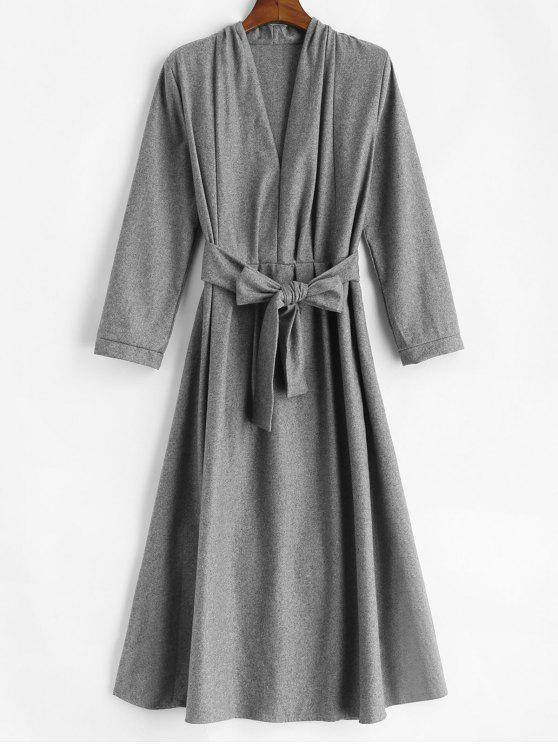 Laço cinto vestido de manga comprida midi - Cinzento S